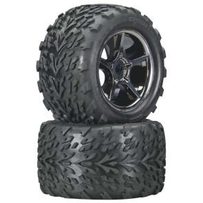 Traxxas Talon two tires premounted on Gemini Black Chrome Wheels TRA5374X