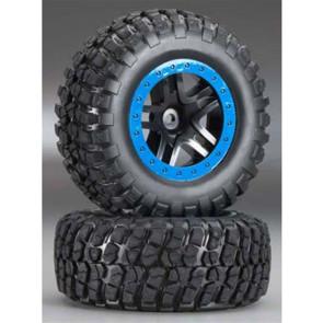 Traxxas Tire/Wheel Assy Glued SCT Split-Spoke Black TRA5883A