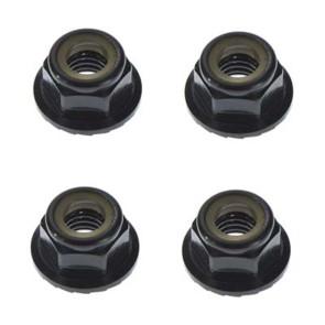 Tekno RC M5 Locknuts Aluminum/Flanged/Serrated Black (4) TKR1215